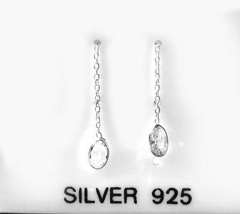 Oval zirkonia doortrek oorbellen in zilver 925