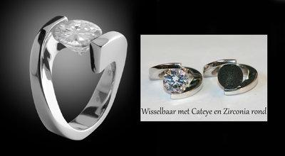 Zilver 925 Briljant Cateye Ring Combi MelanO - Diverse maten